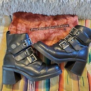 Harley Davidson Leather 3 Buckle Logo Boots 7.5